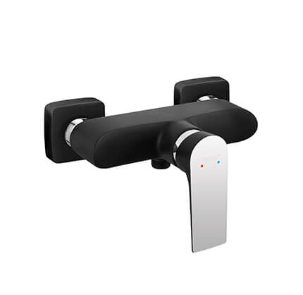 Algeo Square Black/Chrome - wall-mounted shower mixer