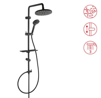 Rondo Lux Black - Rainfall with shower set