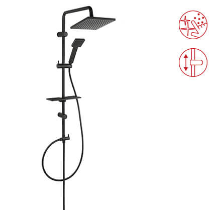 Squerto Lux Black - Rainfall with shower set